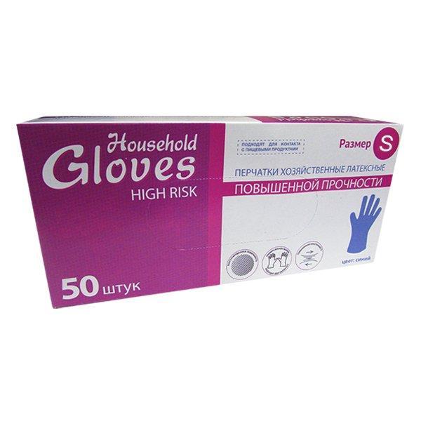 Перчатки Хайриск латексные повышенной прочности неопудренные (хозяйственные) р-р S , 50 шт