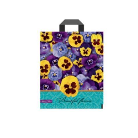 """Пакет (мешок) петля ПВД 34х28 см, 60мкм, """"Красивые цветы"""", 25 шт, фото 2"""