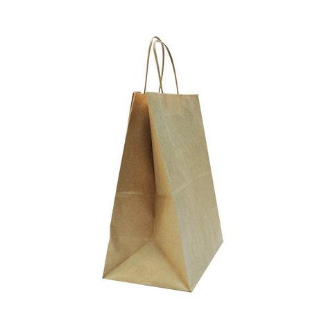 Пакеты (220+120)х250мм  коричн.,70г/м2, крафт бум. с кручеными ручками, 200 шт, фото 2