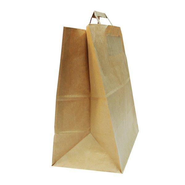 Пакеты (320+200)х370мм  коричн.,70г/м2, крафт бум. с плоской ручкой, 200 шт