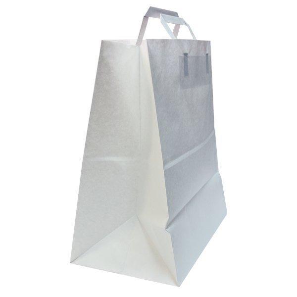 Пакеты (320+200)х370мм,80г/м2, крафт белый с плоской ручкой, 200 шт