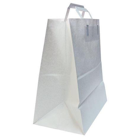 Пакеты (320+200)х370мм,80г/м2, крафт белый с плоской ручкой, 200 шт, фото 2