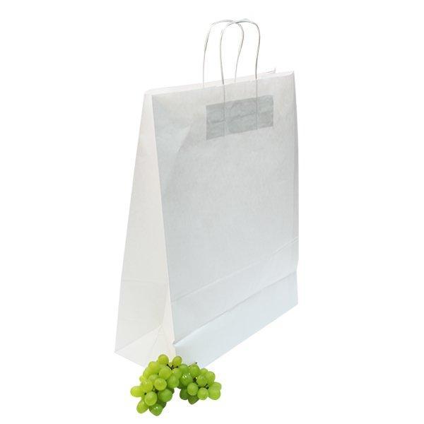 Пакеты (350+150)х450мм,80г/м2, крафт белый с кручеными ручками, 150 шт