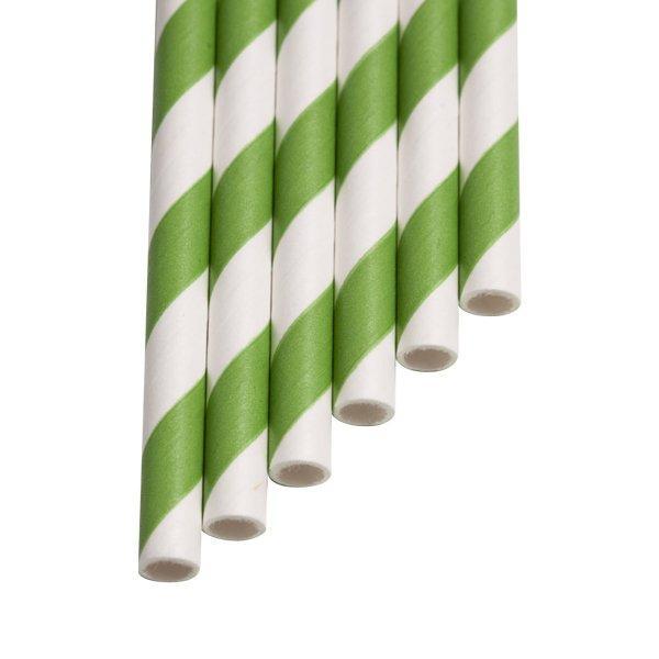"""Трубочки бумажные  """"Полоса салата"""" полоска цвет салатовый, белый """"d=6мм L = 195мм"""", 250 шт"""