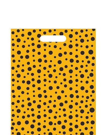 """Пакет (мешок) проруб. ПВД 40х30см, 60мкм, """"Горошек желтый"""", 25 шт, фото 2"""