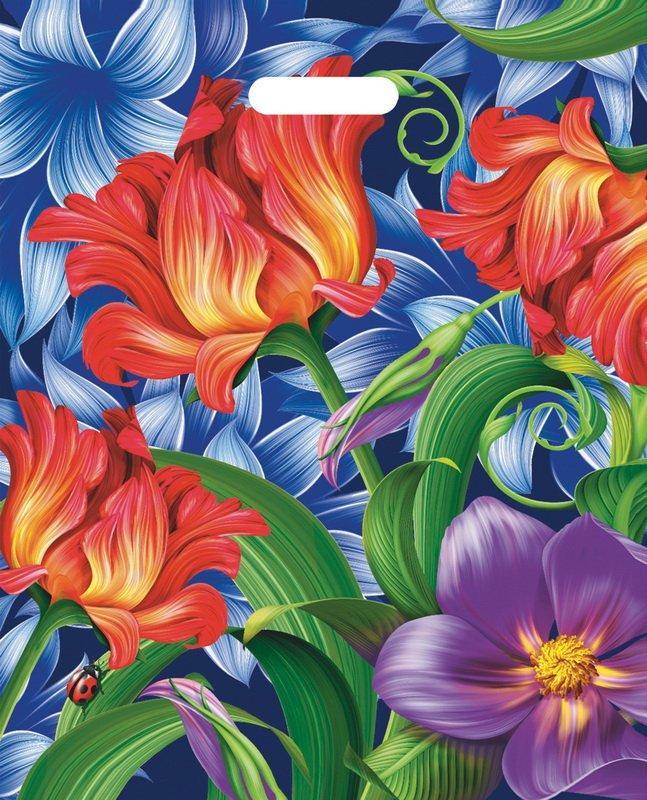 "Пакет (мешок) проруб. ПВД 47х38см, 60мкм, ""Flowers"", 25 шт"
