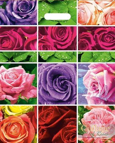 """Пакет (мешок) проруб. ПВД 47х38см, 60мкм, """"Коллаж роз"""", 25 шт, фото 2"""