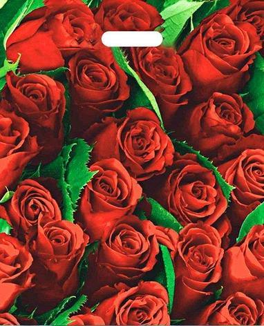 """Пакет (мешок) проруб. ПВД 47х38см, 60мкм, """"Розы"""", 25 шт, фото 2"""
