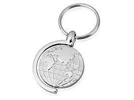 Брелок с глобусом, вращающимся внутри кольца, серебристый (артикул 706210)