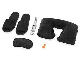 Набор для путешествий с комфортом в чехле: подушка под голову, повязка на глаза для спокойного сна в дороге, беруши, тапочки, лампа для чтения с