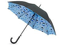 Зонт-трость Капли воды полуавтоматический с двухслойным куполом, черный голубой, фото 1