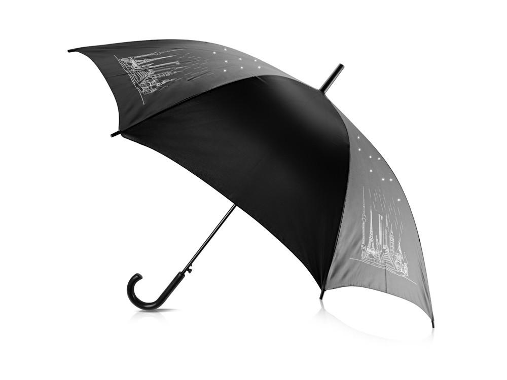 Зонт-трость 8 чудес света со стразами, черный