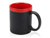 Кружка с покрытием для рисования мелом Да Винчи, черный/красный, фото 1