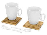Набор: 2 чашки на 250 мл, 2 деревянные подставки, 2 ложки, фото 1