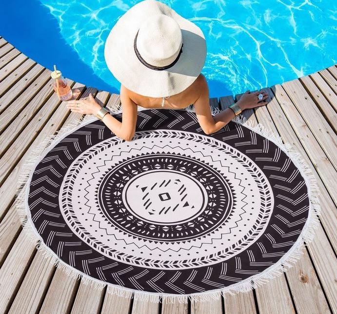 """Полотенце пляжное """"Black&White"""" (диаметр 150 см)"""