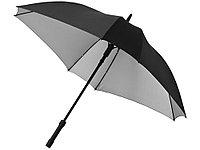 Зонт трость Square, полуавтомат 23, черный/серебристый, фото 1