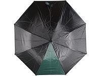 Зонт складной Логан полуавтомат, черный/зеленый, фото 1
