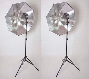2 зонта 80 см на отражение на стойках с головками под вспышки, фото 2