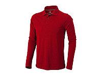 Рубашка поло Oakville мужская с длинным рукавом, красный, фото 1