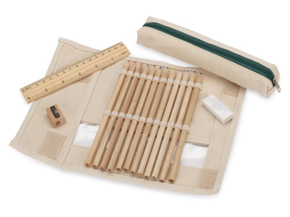Набор: 12 цветных карандашей, точилка, ластик, линейка в чехле с прозрачным окошком