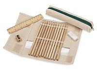 Набор: 12 цветных карандашей, точилка, ластик, линейка в чехле с прозрачным окошком, фото 1