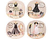 Набор из четырех десертных тарелок Высокая мода, фото 1