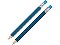 Набор Даллас: ручка шариковая, карандаш с ластиком в футляре, синий, фото 1