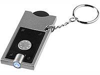 Брелок-держатель для монет Allegro с фонариком, черный/серебристый, фото 1