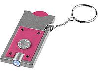 Брелок-держатель для монет Allegro с фонариком, фуксия/серебристый, фото 1