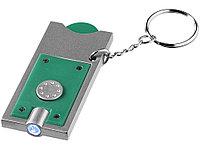 Брелок-держатель для монет Allegro с фонариком, зеленый/серебристый, фото 1