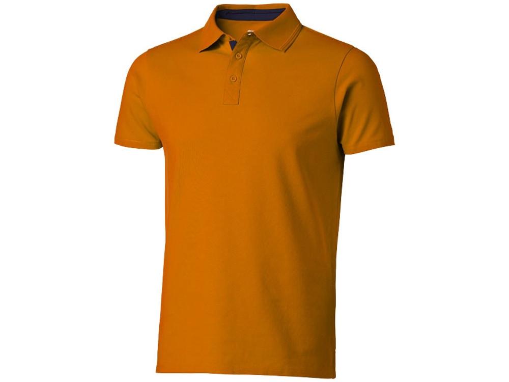 Поло с короткими рукавами Hacker, оранжевый/темно-синий (артикул 3309633S)