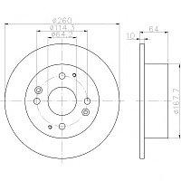 Тормозные диски Honda Accord (98-02, задние, Trw, D260-4d-64vis)