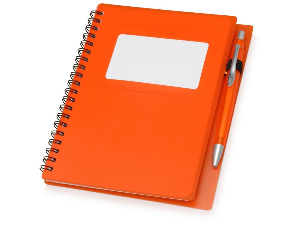 Блокнот Контакт с ручкой, оранжевый (артикул 413508)