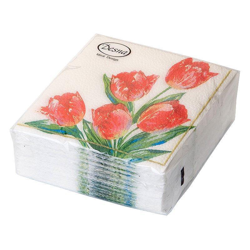 """Салфетки 25х25см, 1 сл., """"Красные тюльпаны"""", Бумага, 40 шт/уп, 40 шт"""