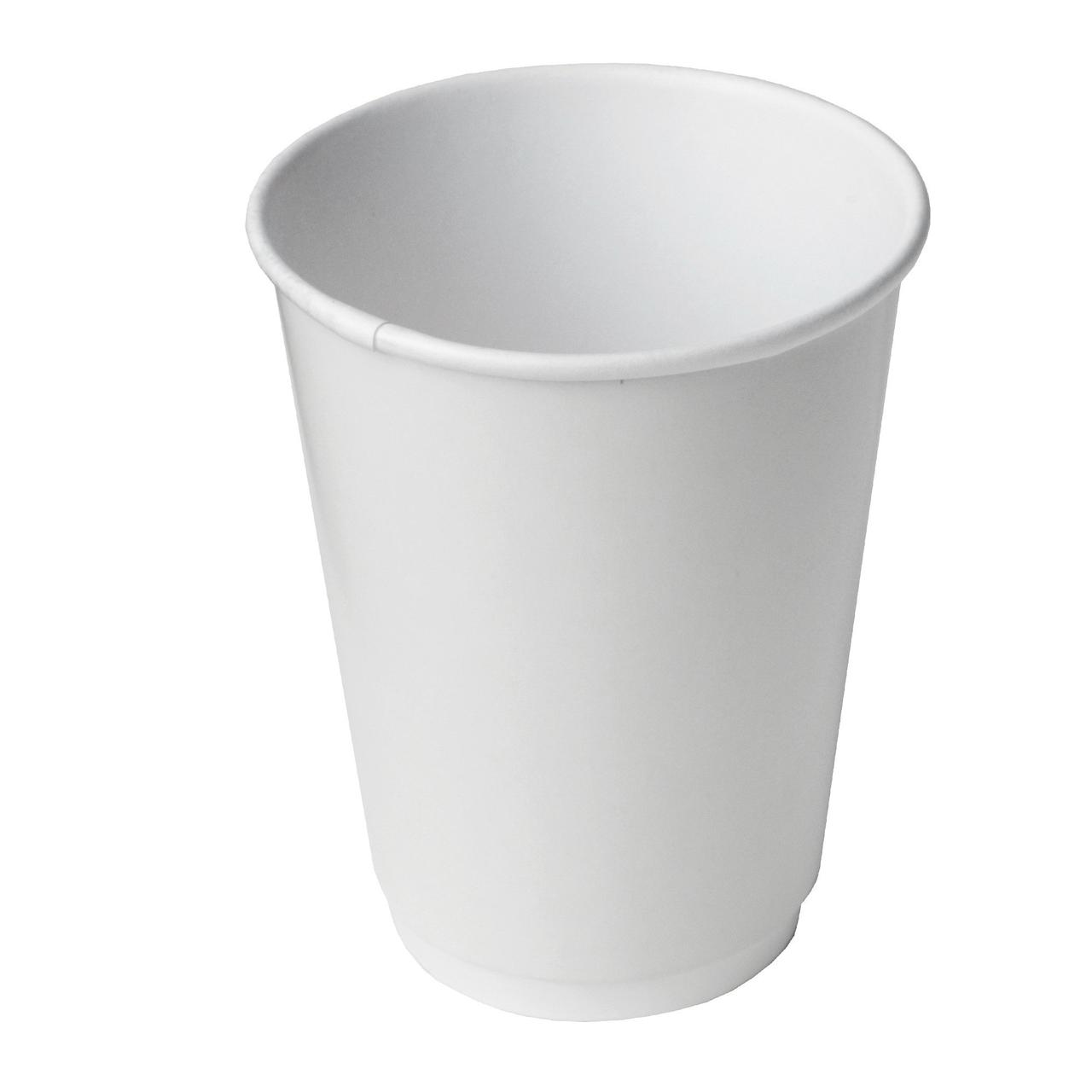 Стакан для холодного и горячего, 0.4/0.518л, без печати, белый, картон, двухслойный, 360 шт