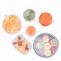 Набор из 6 силиконовых многоразовых натяжных крышек для посуды Silicone Sealing Lids, фото 2