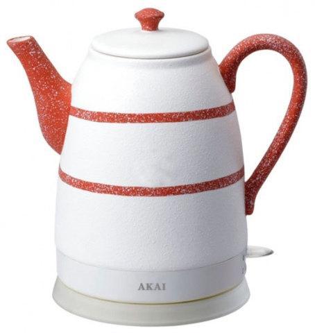 Чайник электрический из керамики AKAI [1500 Вт; 1,6 л] (Белый с красным)