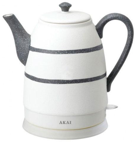 Чайник электрический из керамики AKAI [1500 Вт; 1,6 л] (Белый с чёрным)