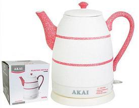 Чайник электрический из керамики AKAI [1500 Вт; 1,6 л] (Белый с чёрным), фото 2