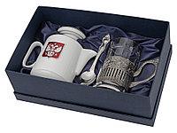Чайный набор с подстаканником и фарфоровым чайником ЭГОИСТ-М, серебристый/белый, фото 1