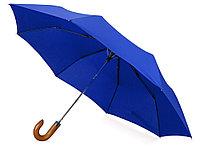 Зонт складной Cary , полуавтоматический, 3 сложения, с чехлом, темно-синий, фото 1
