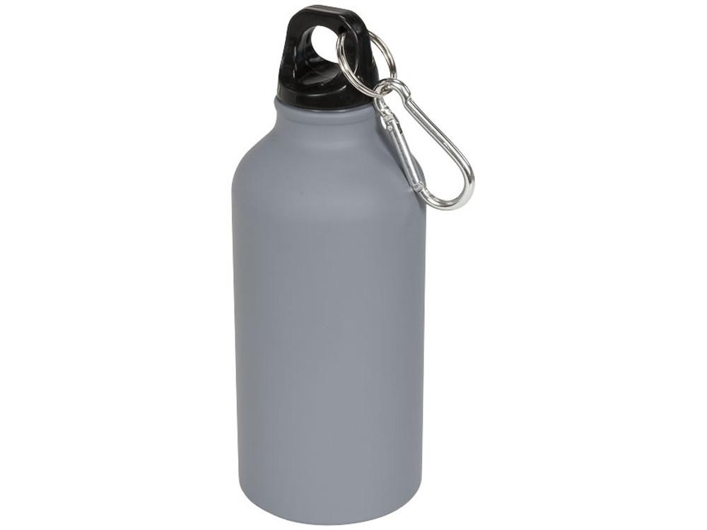 Матовая спортивная бутылка Oregon с карабином и объемом 400 мл, серый