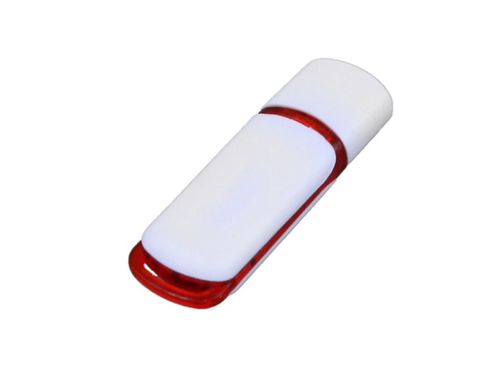 Флешка промо прямоугольной классической формы с цветными вставками, 16 Гб, белый/красный