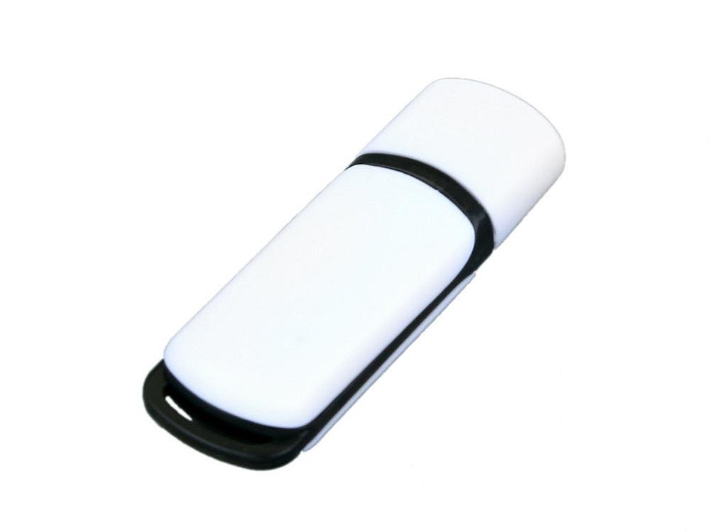 Флешка промо прямоугольной классической формы с цветными вставками, 64 Гб, белый/черный