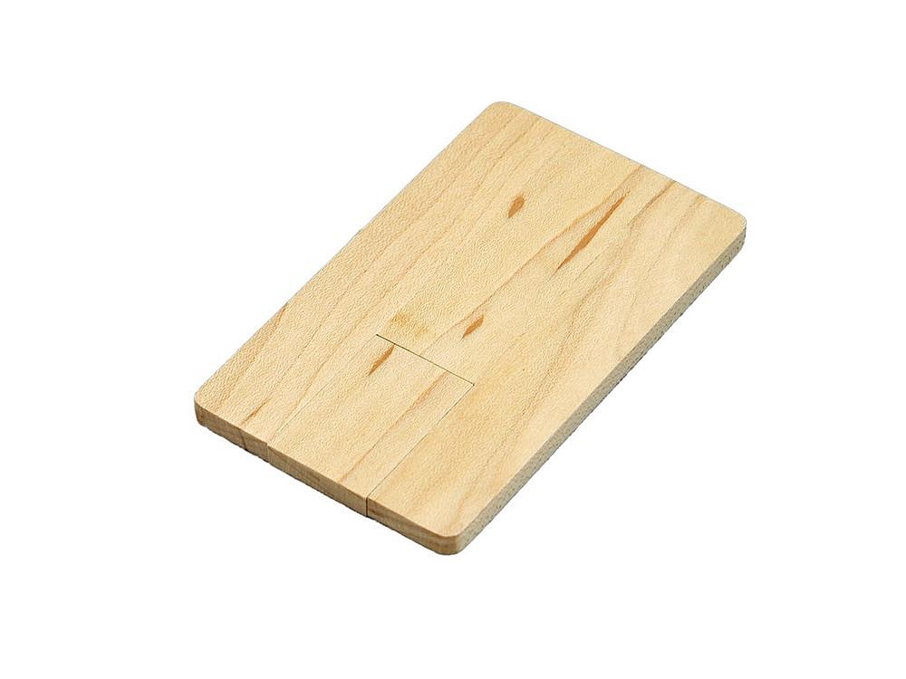 Флешка в виде деревянной карточки с выдвижным механизмом, 16 Гб, натуральный