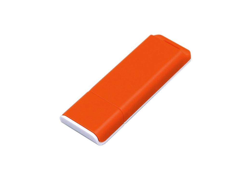 Флешка прямоугольной формы, оригинальный дизайн, двухцветный корпус, 16 Гб, оранжевый/белый (артикул