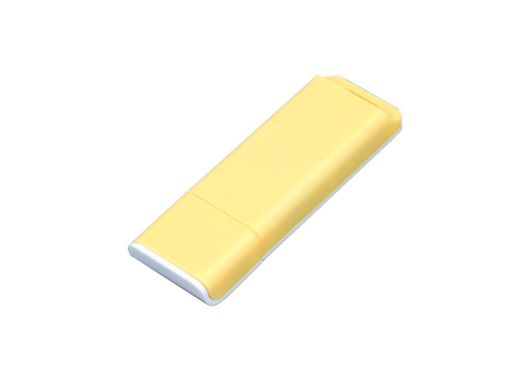 Флешка прямоугольной формы, оригинальный дизайн, двухцветный корпус, 64 Гб, желтый/белый (артикул 6013.64.04)