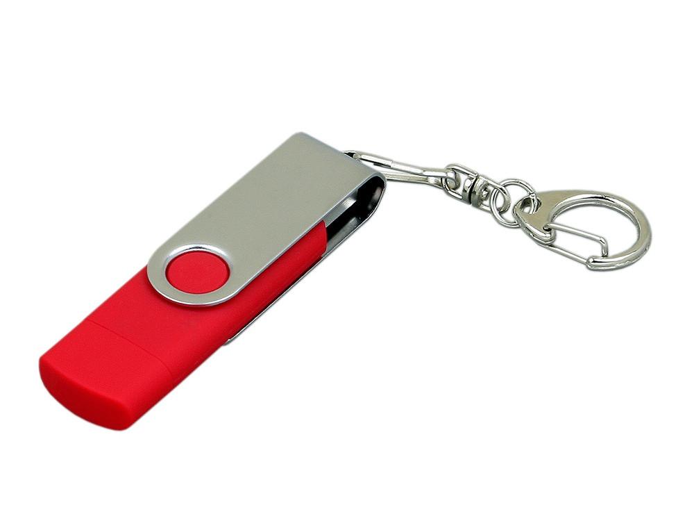 Флешка с  поворотным механизмом, c дополнительным разъемом Micro USB, 32 Гб, красный (артикул 7030.32.01)