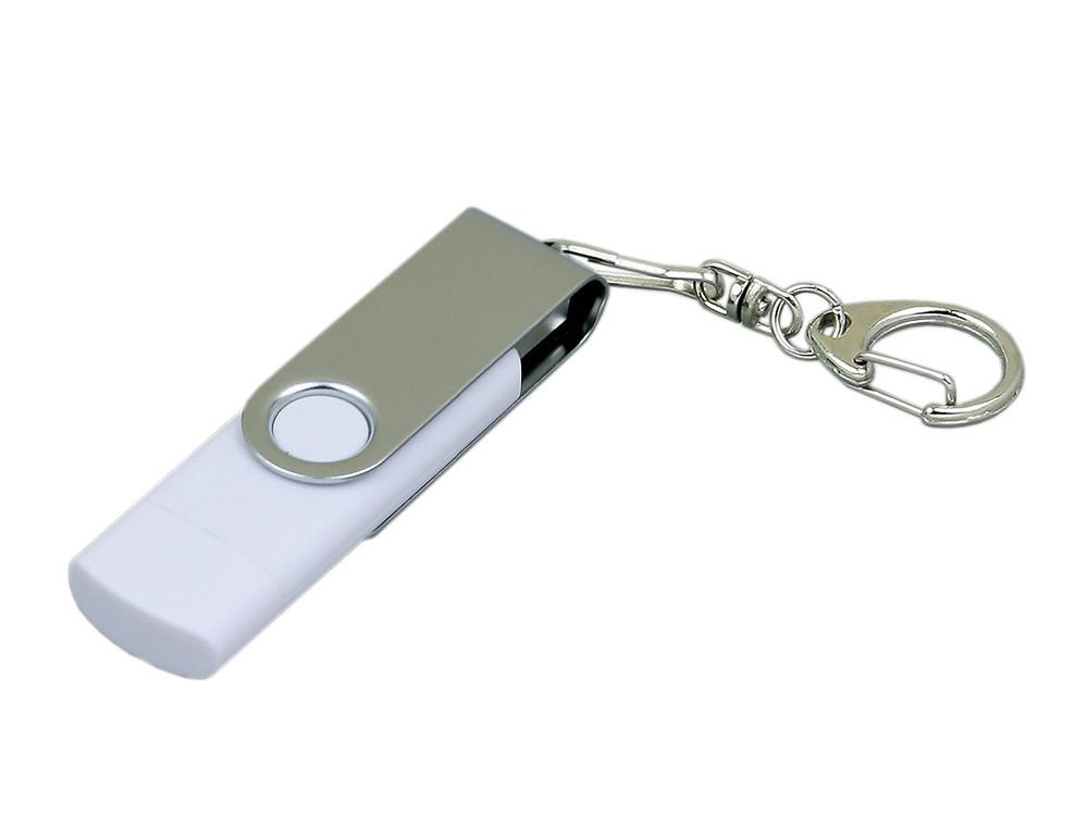 Флешка с  поворотным механизмом, c дополнительным разъемом Micro USB, 32 Гб, белый