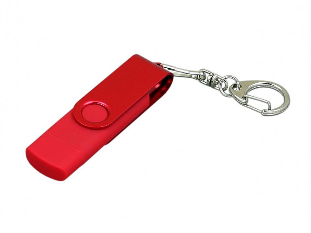 Флешка с поворотным механизмом, c дополнительным разъемом Micro USB, 16 Гб, красный (артикул 7031.16.01)